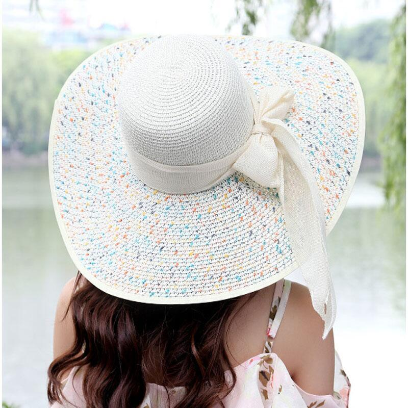 98e9f523 Ltnshry Summer Women's Beach Hats Caps Foldable Chiffon Floppy Sun ...