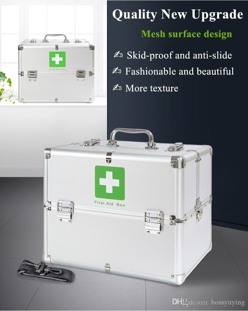 Lockable 3 Layer First Aid Cabinet Case Medicine Storage Container Box  Emergency Survival Kits Emergency Supplies Double Lock