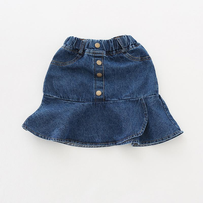 1bd674f6a Niñas de mezclilla azul faldas casuales niños botones volantes moda falda  sólida bebé princesa tutu baile falda ropa de los niños para niña