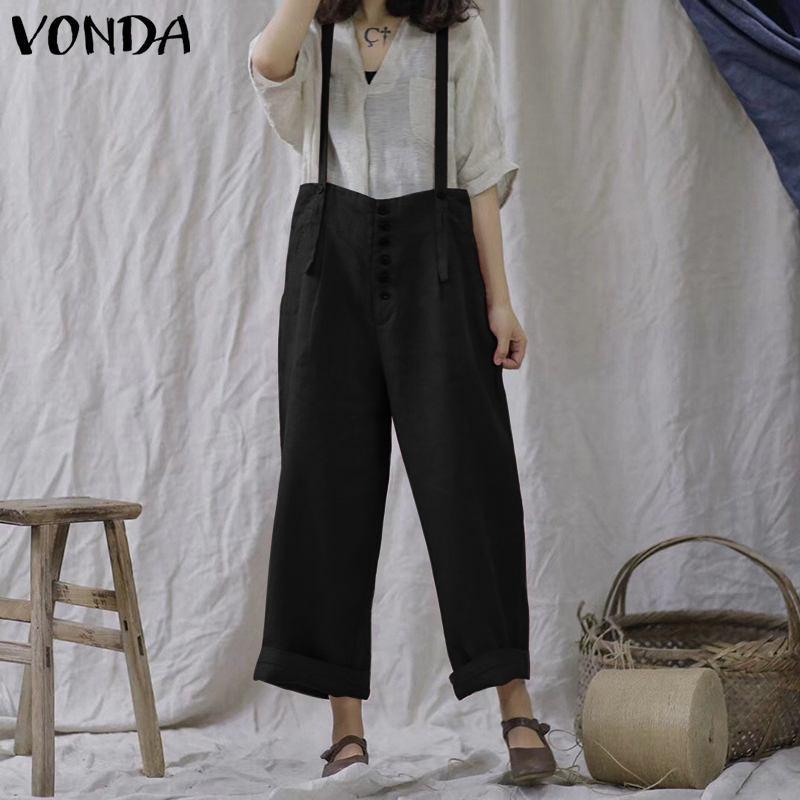 Compre Mamelucos De Algodón Para Mujer Mono 2019 VONDA Otoño Moda Correa De  Pierna Ancha Pantalones Casuales Bolsillos De Cintura Alta Sueltos  Guardapolvos ... f60de5c482a7