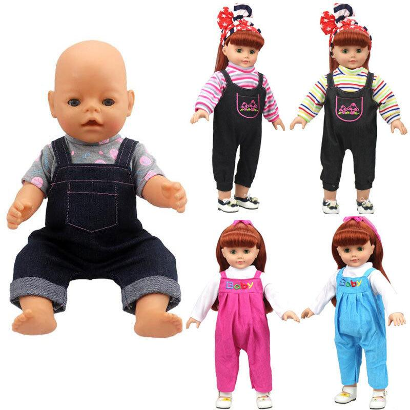For 43cm Baby Doll Clothes Romper Suit Colorful Stripes Long Sleeve 18 Inch Doll Accessories Children Gift