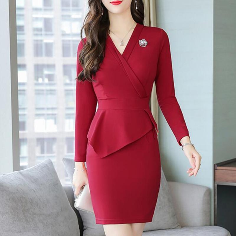 09c314025b 2019 2019 New Spring Autumn Women Office Lady Dress Suits V Neck Elegant  Slim Bodycon OL Work Formal Business Wear Plus Size XXXL From Morph1ne