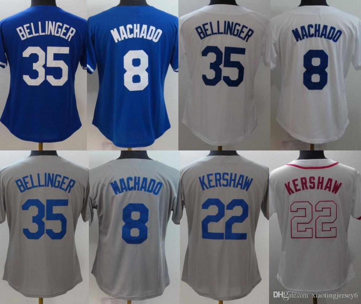 2019 2018 New Women Jersey 8 Manny Machado 35 Cody Bellinger 22 Clayton  Kershaw Baseball Jerseys White Blue Size  S 2XL From Xiaotingjersey6 b52d93e933c