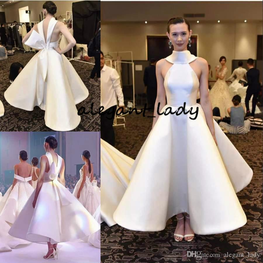 Matte Stain Tea-length Evening Formal Dresses with Big Bow 2019 High Neck Low Back Puffy Dubai Arabic Cocktail Prom Gown