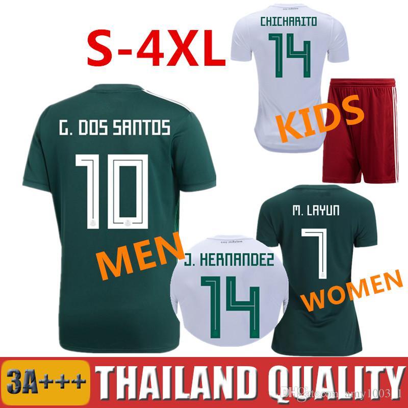 promo code a96ac dc65f 2018 mexico soccer jerseys 18 19 CHICHARITO HIRVING LOZANO football shirt  Carlos Vela G.DOS SANTOS A GUARDADO Men Women kids kit Camisetas