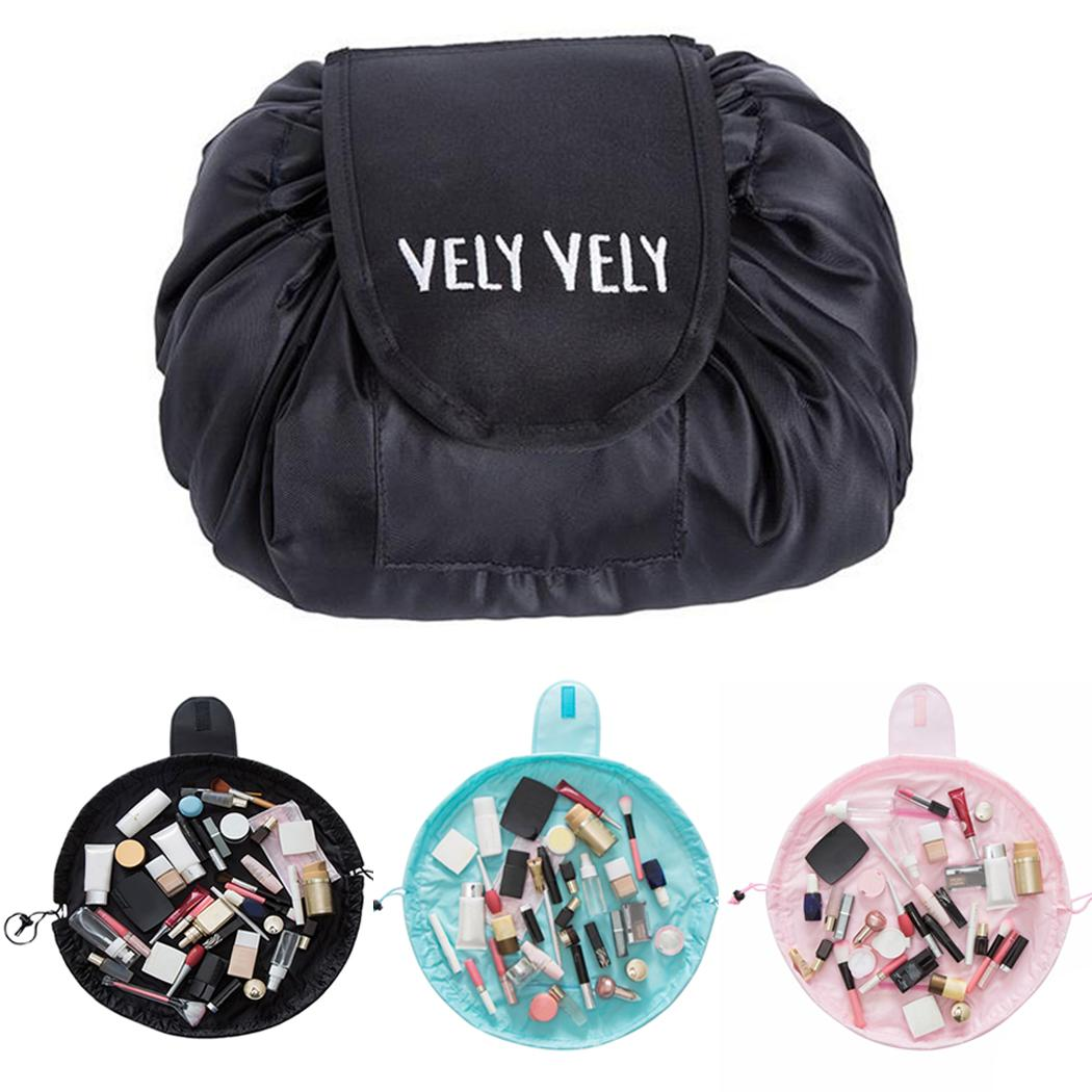 Drawstring Large Capacity Cosmetic Pouches Polyester Lazy Makeup