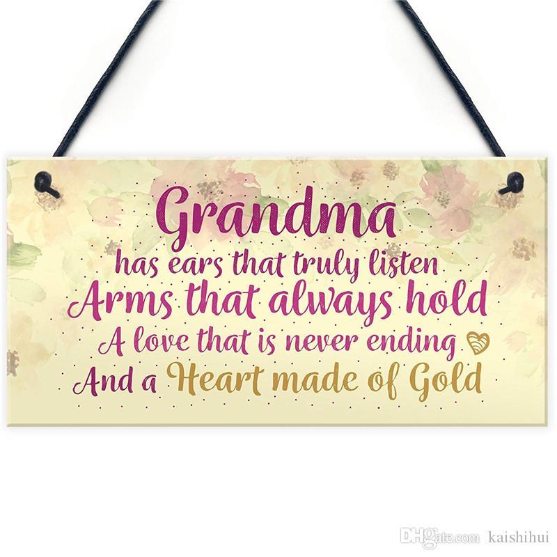 Heart Of Gold Grandparent Grandma Gran Nan Plaques Floral Signs Birthday Gift Keepsake PVC Plaque Chalkboard Wall Decorating Home Decor From Kaishihui