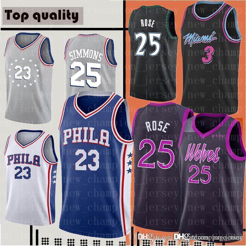 sports shoes 00c61 3fbff Philadelphia Jimmy Butler Derrick 25 Rose Timberwolves 2019 City jersey  Dwyane 3 Wade 76ers 21 Embiid 25 Simmons Jersey Retro jerseys