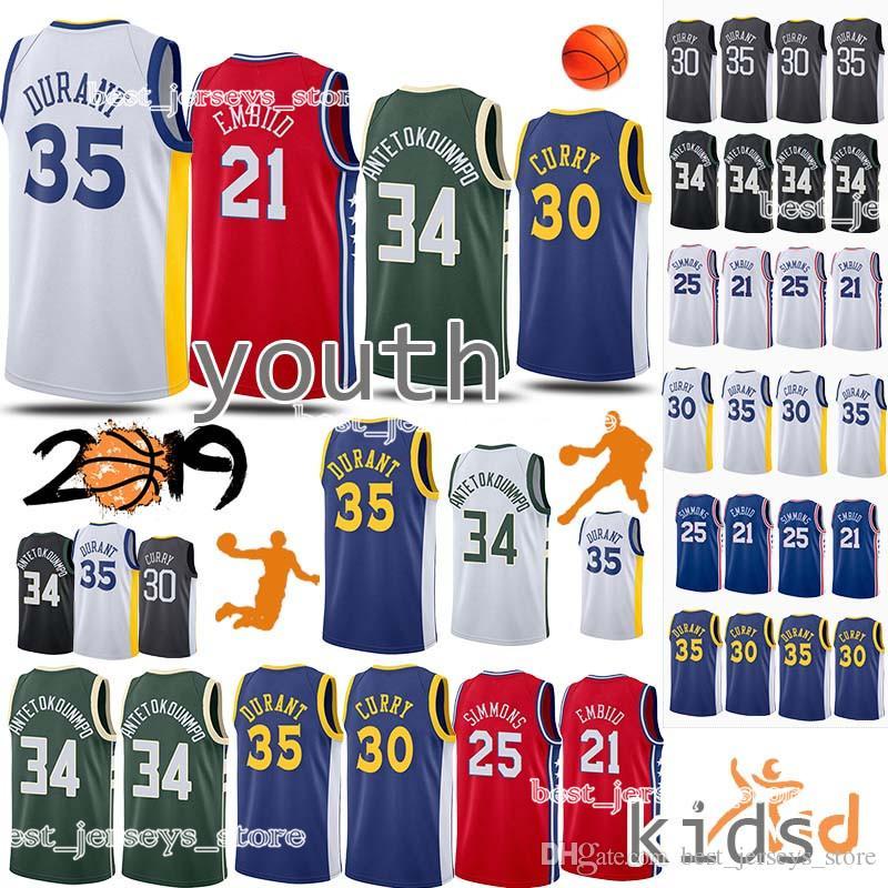 huge selection of de55f 26514 34 Antetokounmpo Kids Kit 25 Simmons 30 Curry jersey 21 Embiid 35 Durant  Child 18/19 Shirts uniform Basketball Jerseys