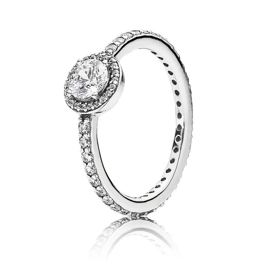 925 Sterling Silver Ring Pave Classic Elegance With Crystal Pan Rings For Women Wedding Party Gift Fine Jewelry