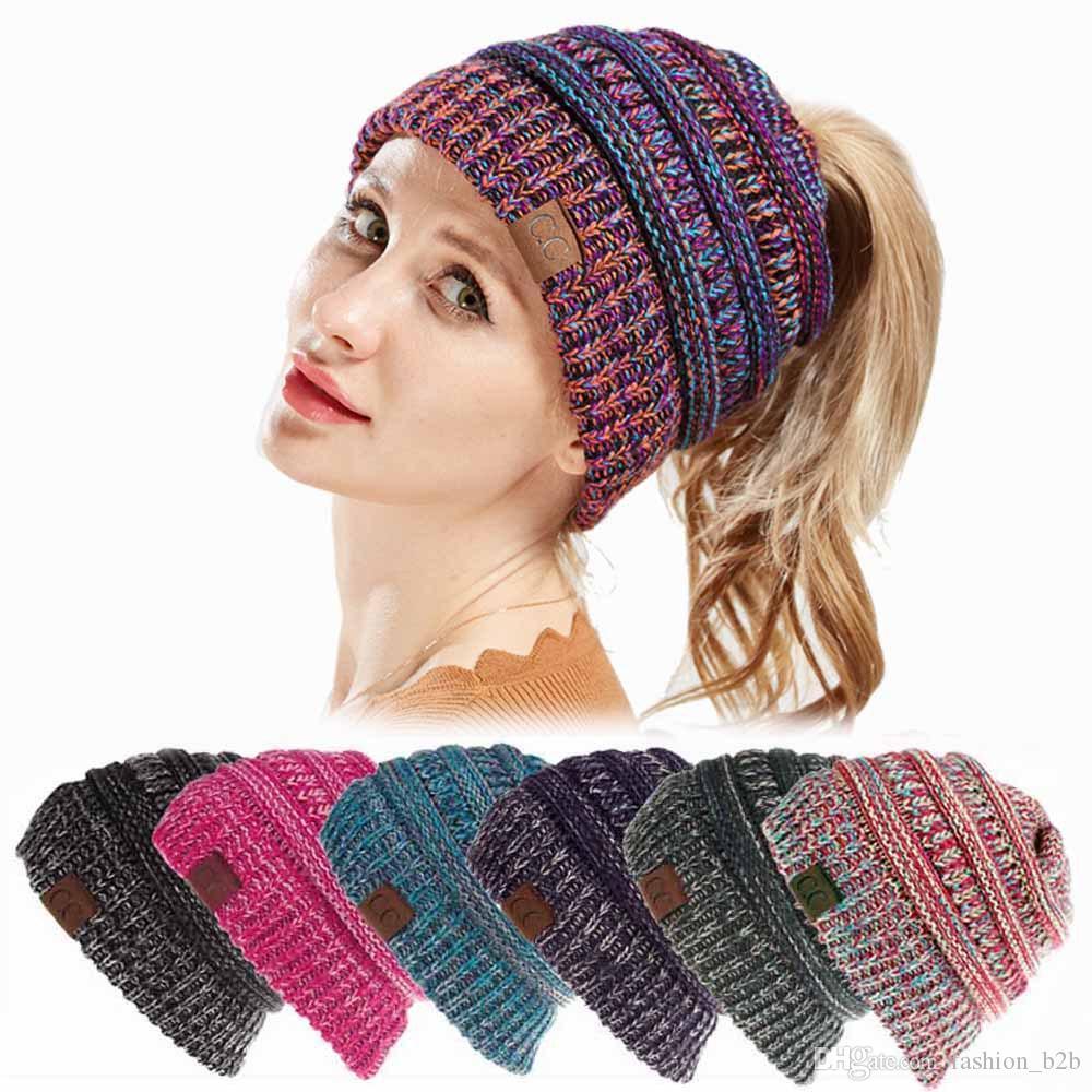 Women CC Ponytail Crochet Knit Beanie Hat Winter Skullies Beanies ... 7413330e06a