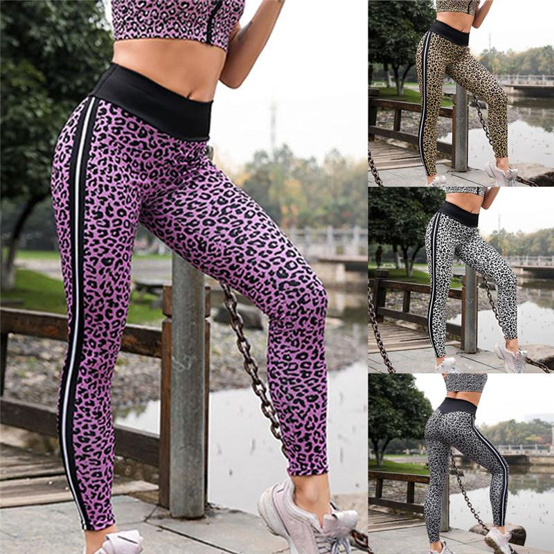 69aced3c28f8 2019 2019 Women Mid Waist Leopard Print Legging Running Sports Pants  Trouser Running Sports Waist Striped Pants Plus #A From Suspender, $38.13 |  DHgate.Com