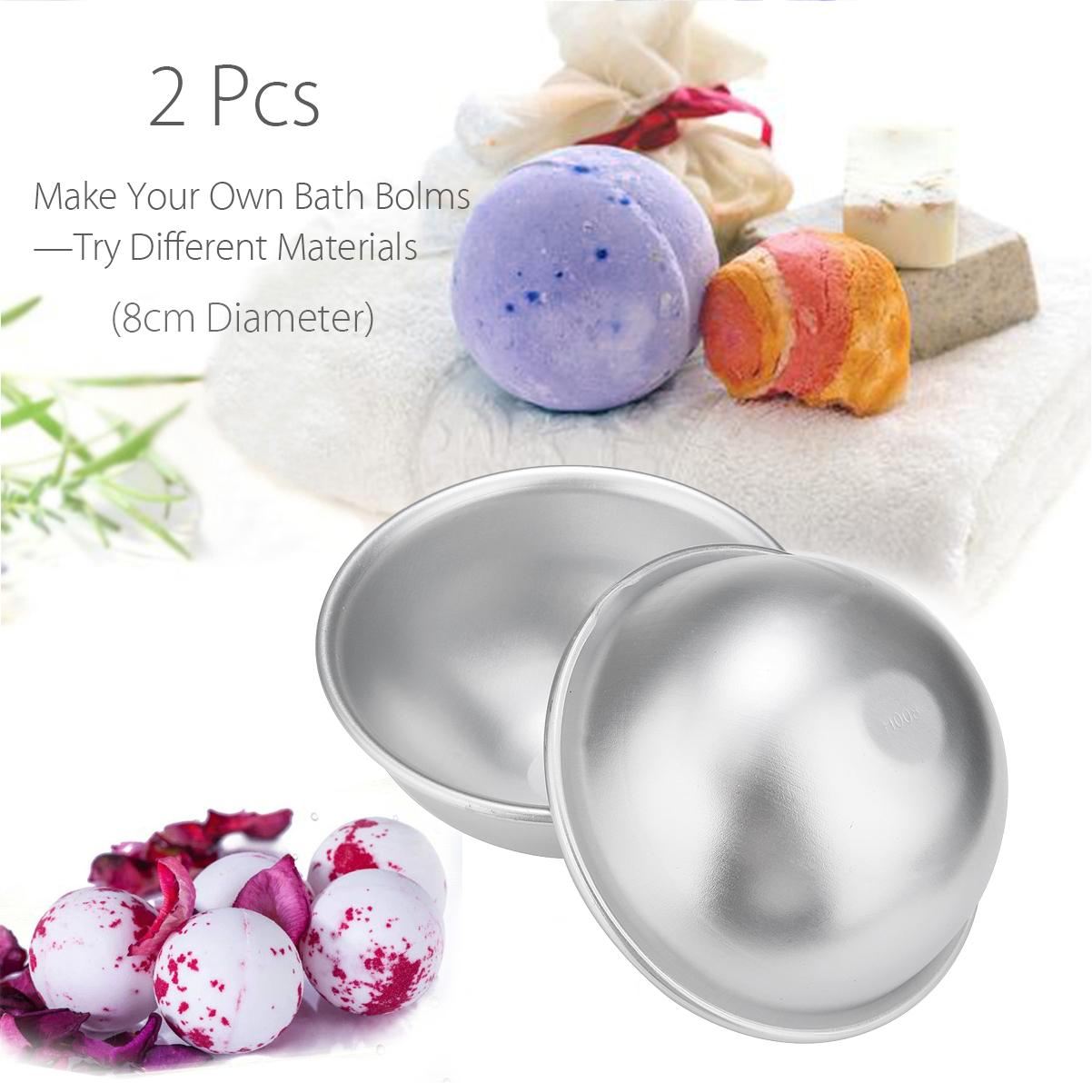 2pcs 8cm Bath Bomb Mold 3D Metal Aluminum Alloy Ball Sphere Shape Bath Salt Bomb Handmade DIY Bathing Salt Making Tools D19011201