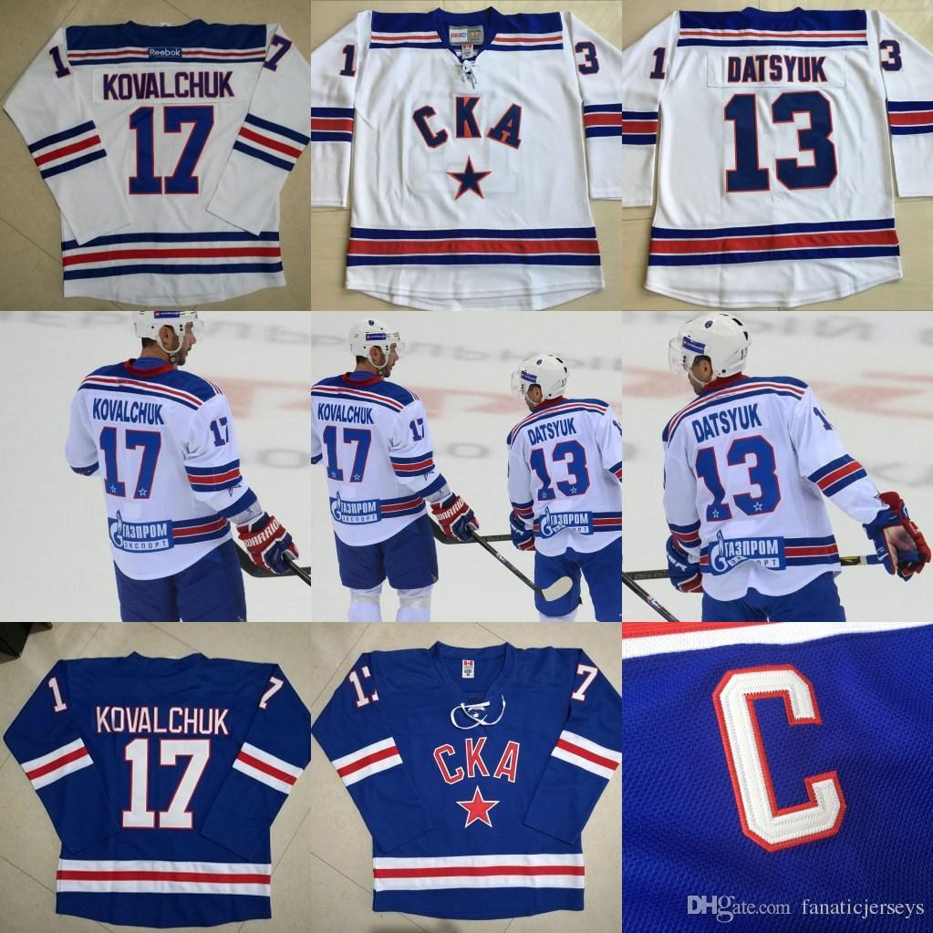 2019 Movie Jersey 13 Pavel Datsyuk 17 Ilya Kovalchuk CKA St Petersburg  Pavel Datsyuk KHL Jersey Blue White Custom Hockey Jerseys From  Fanaticjerseys da08a80095b
