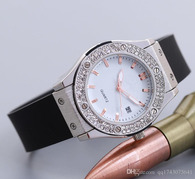 high quality brand famous designer ladies watch unique Strap Automatic calendar black dial rose gold silver watches diamond gifts for women
