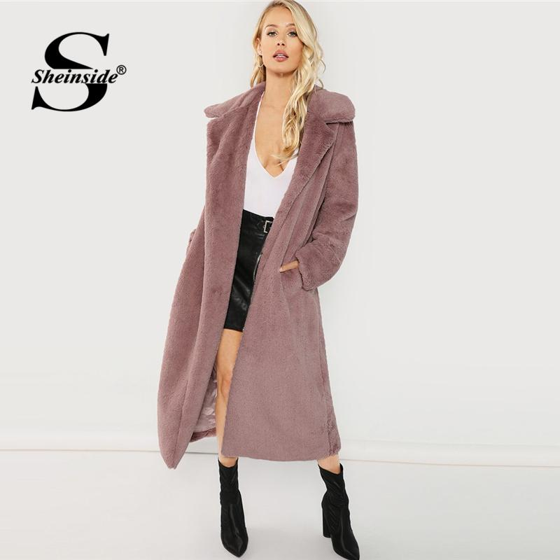 4ebbf91929c Sheinside Pink Open Front Faux Fur Teddy Coat Autumn Winter Clothes Women  Jacket 2018 Elegant Outerwear Womens Plain Long Coats Jacket Sale Biker  Leather ...