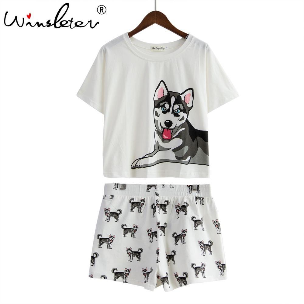 0b168d45631 2019 Dog Women Pajamas Husky Print White Loose Top Elastic Waist Shorts Set  Nightwear Pijamas S79201 Q190419 From Yizhan01