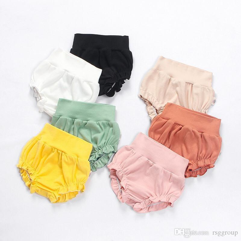 INS Baby Kids Girls High Waist Bloomers Blank Colors Elastic Lovely Fashions Baby Girls Shorts PP Pants Designer Kids Clothing