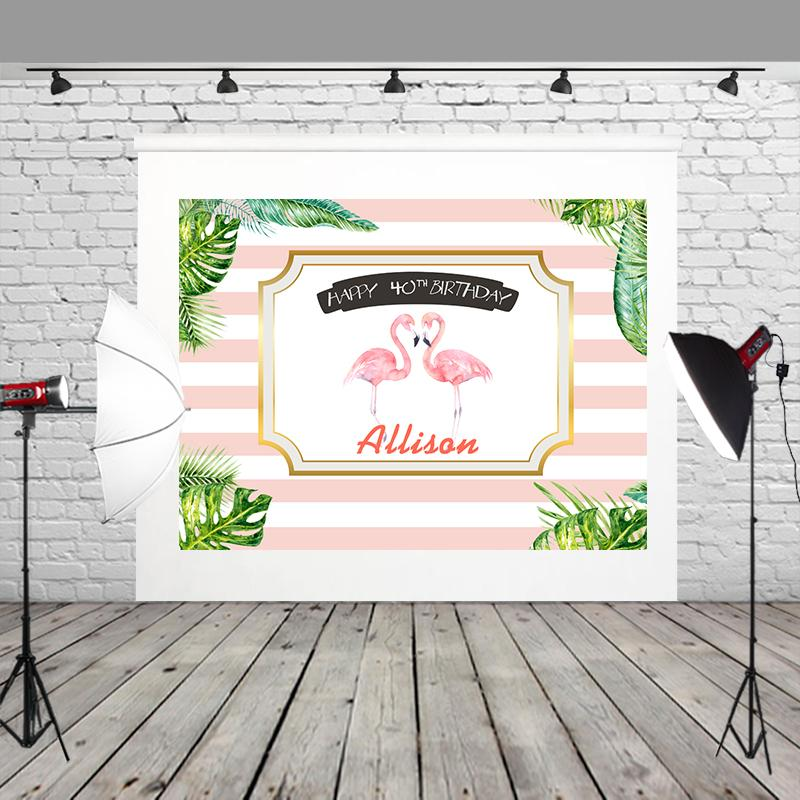 2018 HUAYI Pink And White Stripe Backgrounds Green Plant Two Cranes Happy 40th Birthday Decoration Wrinkly Photography W 1012 From Knite08