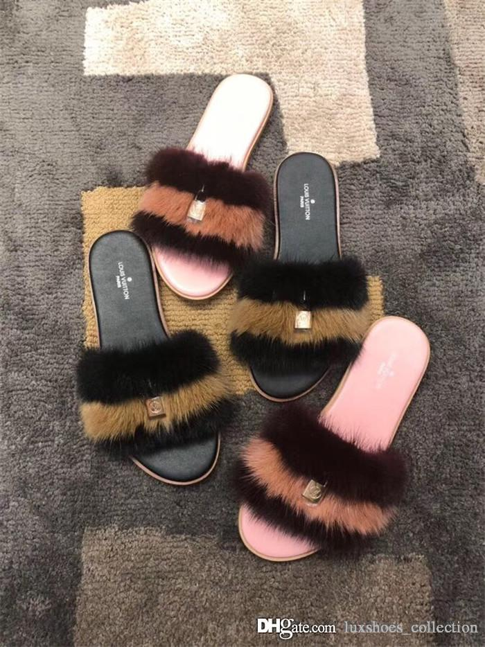 Women Slides Fashion Slippers with Lock, Lock it Flat Mules in Luxurious Mink Fur Sandals for Women Beach Party Size 35-41