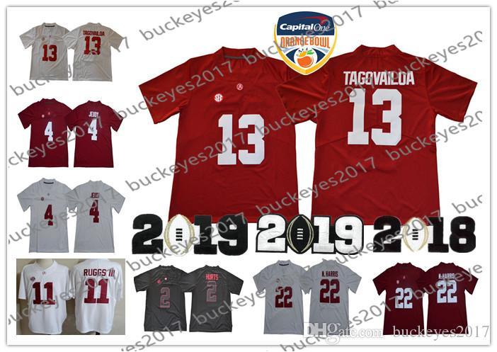 b2deae7e0 Alabama Crimson Tide 2019 Championship  13 Tua Tagovailoa 2 Hurts 3 Ridley  4 Jerry Jeudy 11 Henry Ruggs Red White NCAA Football Jerseys UK 2019 From  ...