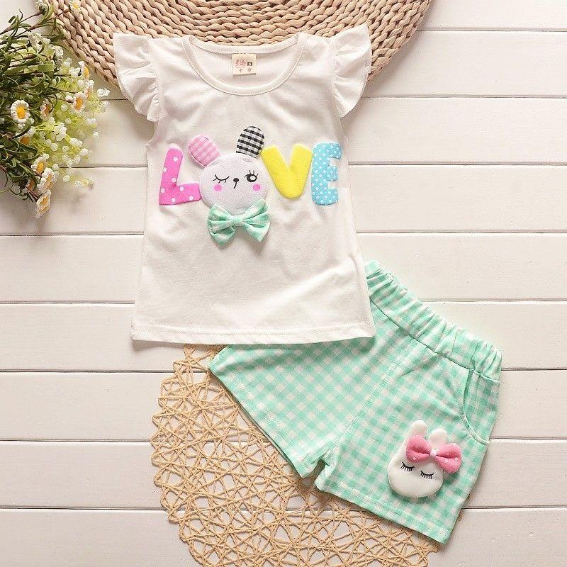 d4827f205eb1 2019 Mochenchenggirls Clothing Sets Children Summer Cartoon Rabbit ...