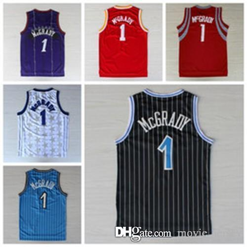 huge discount 2d1aa 3a27e NCAA College #1 McGrady Jersey Tracy Toronto Orlando Houston Rev 30 New  Material Black Blue White Red Purple Raptors Rockets