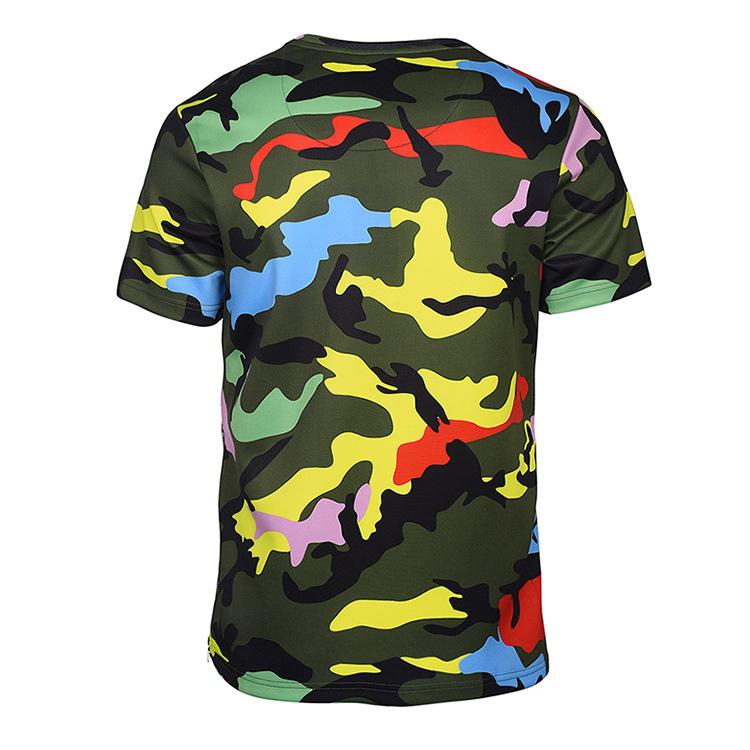 Hip Hop Tshirt Mens 2019 Summer New 3D Color Camouflage Short-sleeved Zipper Shirt Street Fashion Street Fashion Men's Clothing M-3XL