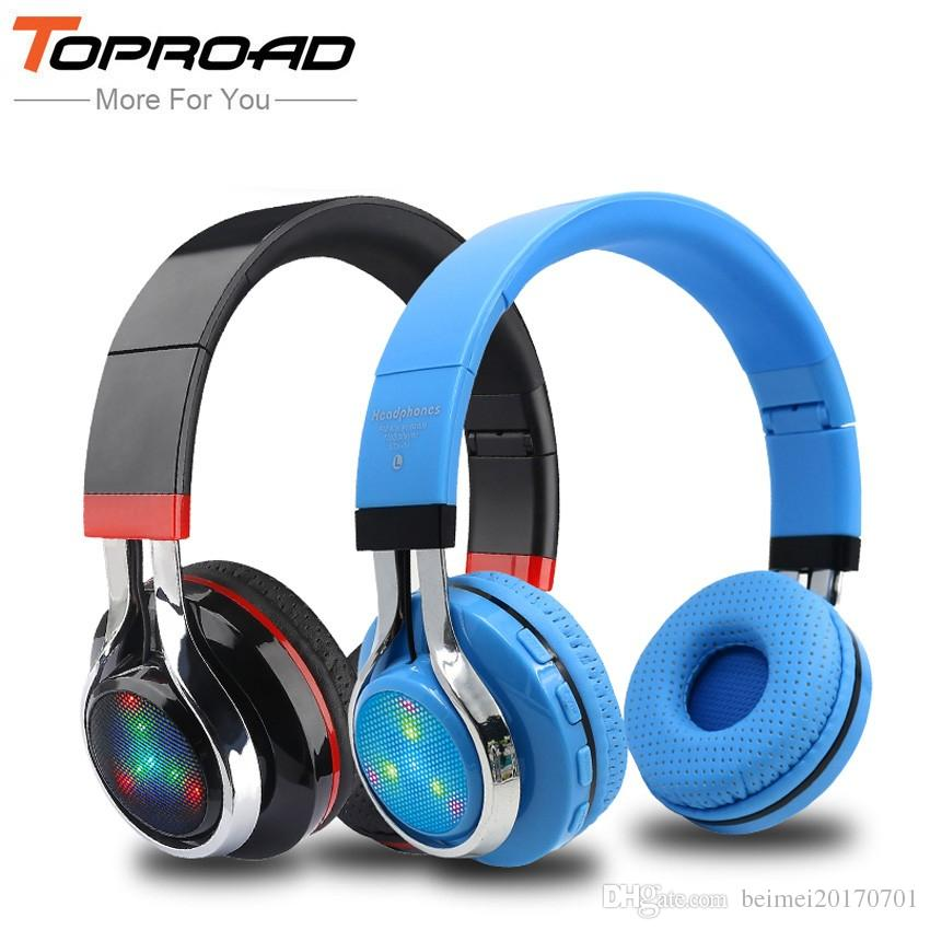 d71877b4821 TOPROAD Glowing Stereo Casque Audio Bluetooth Headphone Wireless Big Headset  Sport Earphone Mic LED Light TF FM For PC Phone Wireless Earbuds Best ...