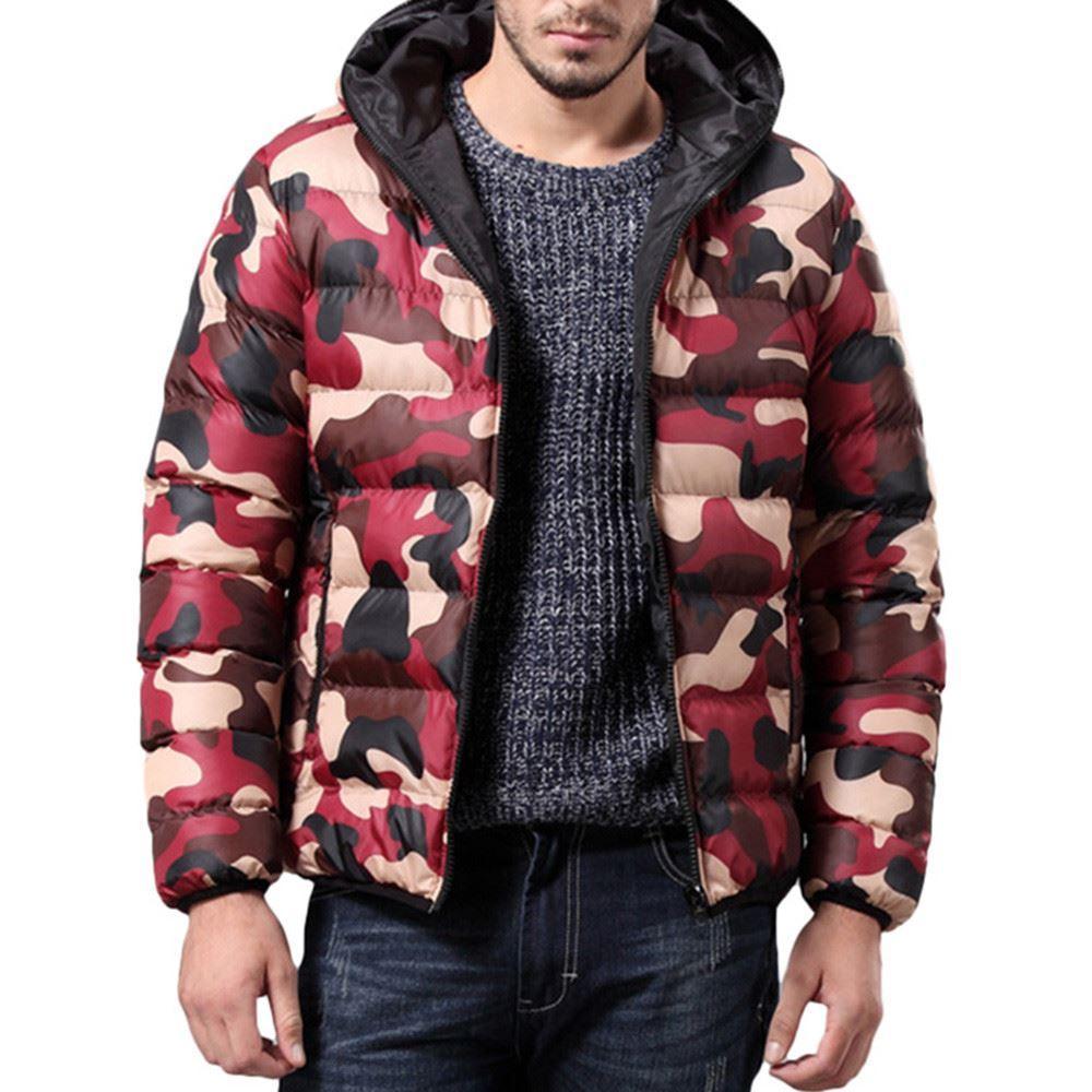 Jacket Men Camouflage Slim Trench Zipper Overcoat Outerwear Cotton Blend Men's Winter Jacket chaqueta hombre 18OCT30