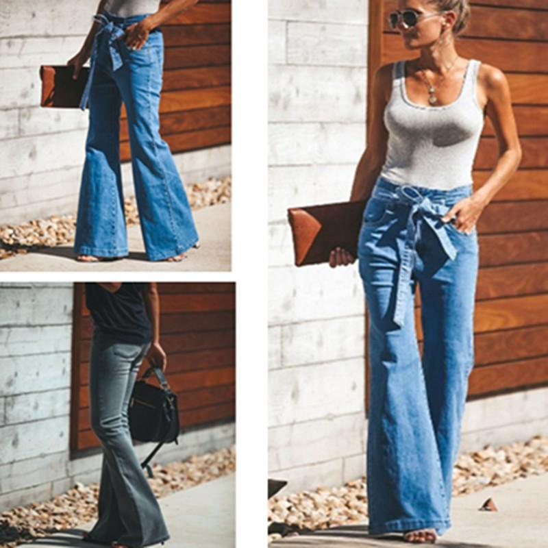 Women's Wide Leg Flared Jeans Plus Size S-4XL High Strength Flare Jeans Bell Bottom Jeans with Belt Bellbottoms Fashion Pants Black Blue