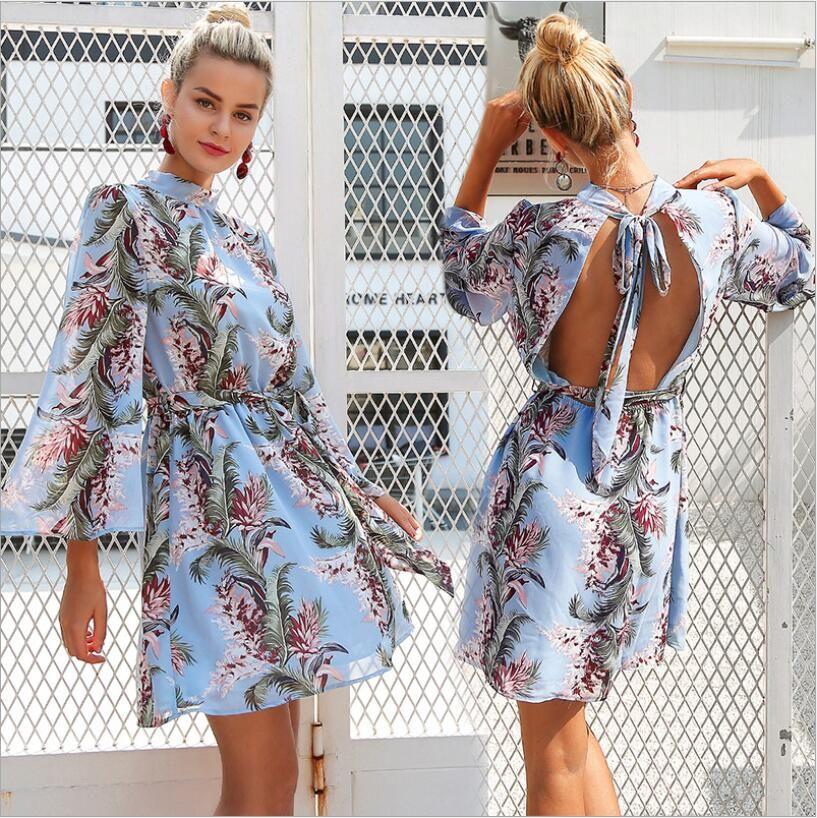 e8fbd3799c 2019 Top Grade Bell Sleeve Belt Backless Formal Chiffon Dress Short Skirts  Sexy Lace Fashion Leisure Party Black White Girl Women Lady Print Designer  Dress ...