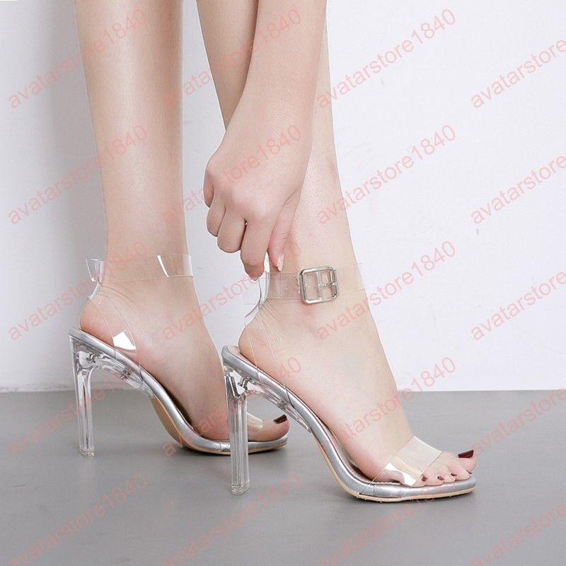 Cm Mujer Sexy 2019 Transparentes Para Tacón Mujeres Zapatos Sandalias Altos Punta Plateados Tacones Abierta 10 w8Om0vyNn