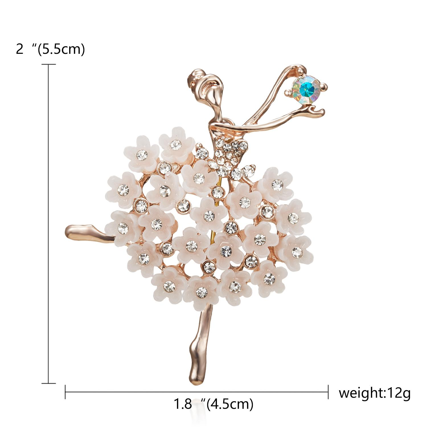 Wedding Rinhoo Swan Lake Factory Direct Sale Ballet Dancing Girl Shinning Crystal Glass Brooches for Woman in assorted designs