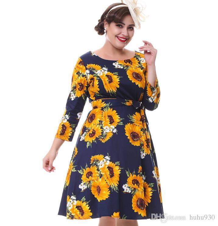 Plus Size New Women Vintage Dress Long Sleeves Belts Sunflower Print ...