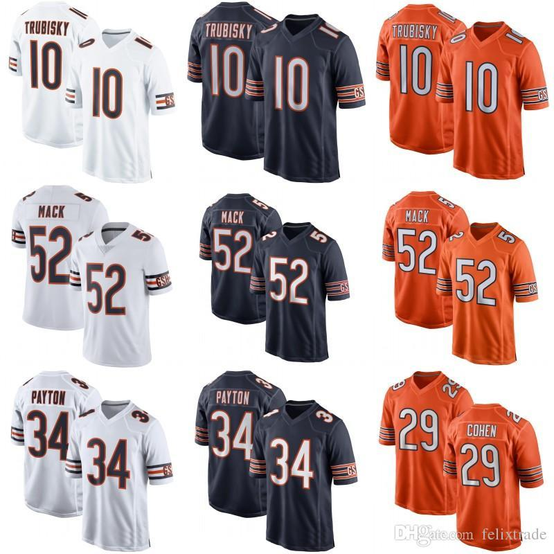 cheap for discount 3dd91 6a69f Mens Chicago 52 Khalil Mack 10 Mitchell Trubisky 34 Walter Payton 50 Mike  Singletary 58 Roquan Smith Bears 29 Tarik Cohen Football Jerseys