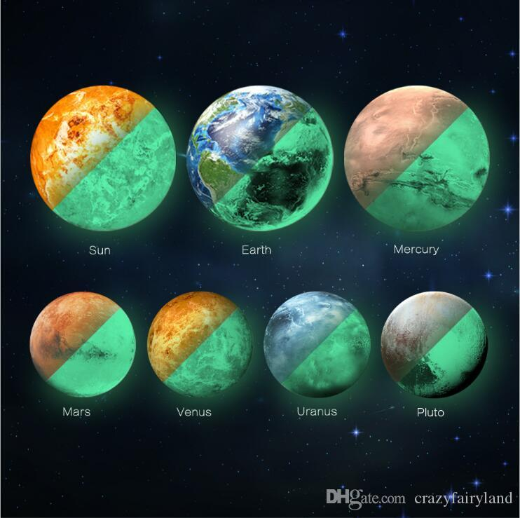 30CM Glowing Planets DIY 3D Wall Stickers for Kids Room Bedroom Glow In The Dark Wall Sticker Home Decor Living Room
