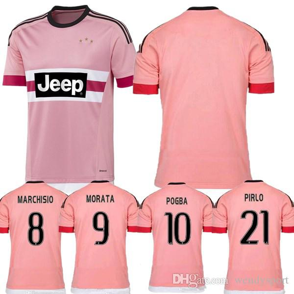 on sale acc4e 31dfa Freeshipping Retro juventus pink Italy POGBA SOCCER JERSEY 15 16 RONALDO  DYBALA MANEZUKIC MORATA HIGUAIN MARCHISIO BUFFON Pink FOOBALL SHIRT