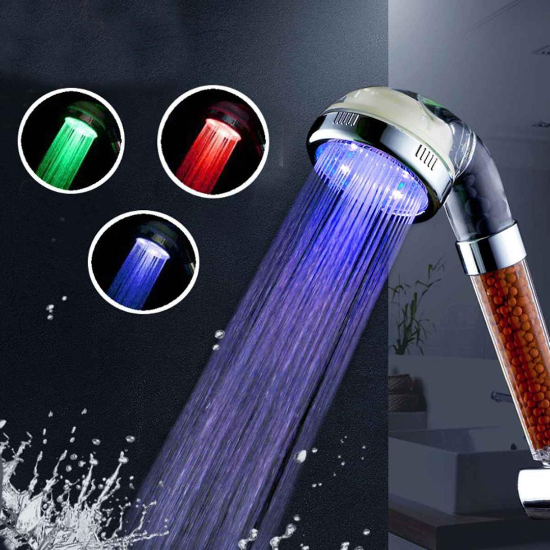 3 Color Led Bath Shower Head High Pressure Water Saving Laser Ionic Spray Bathroom Handheld Shower Head Set Replacement S L Size