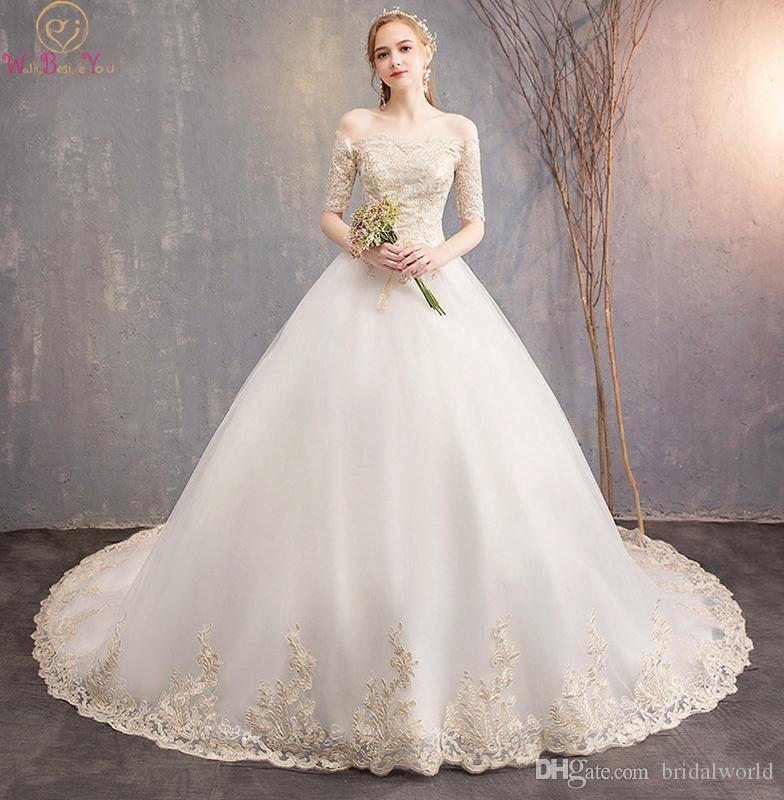 Discount White Wedding Dress 2019 Summer New Off Shoulder Half
