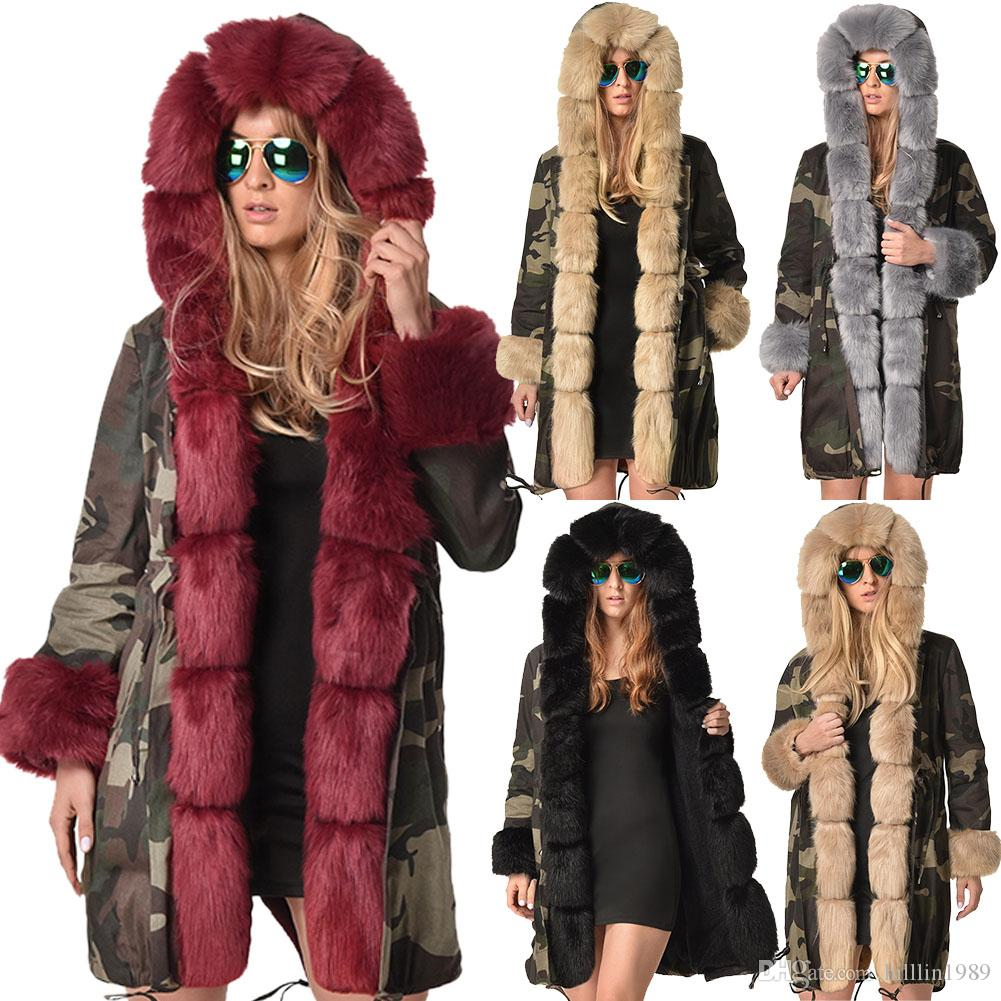 a77925f030 2019 Large Size Faux Fur Collar Women S Three Quarter Coat Hooded Dust Coat  Long Sleeve Camouflage Jacket Winter Women S Trench Coats From Hilllin1989