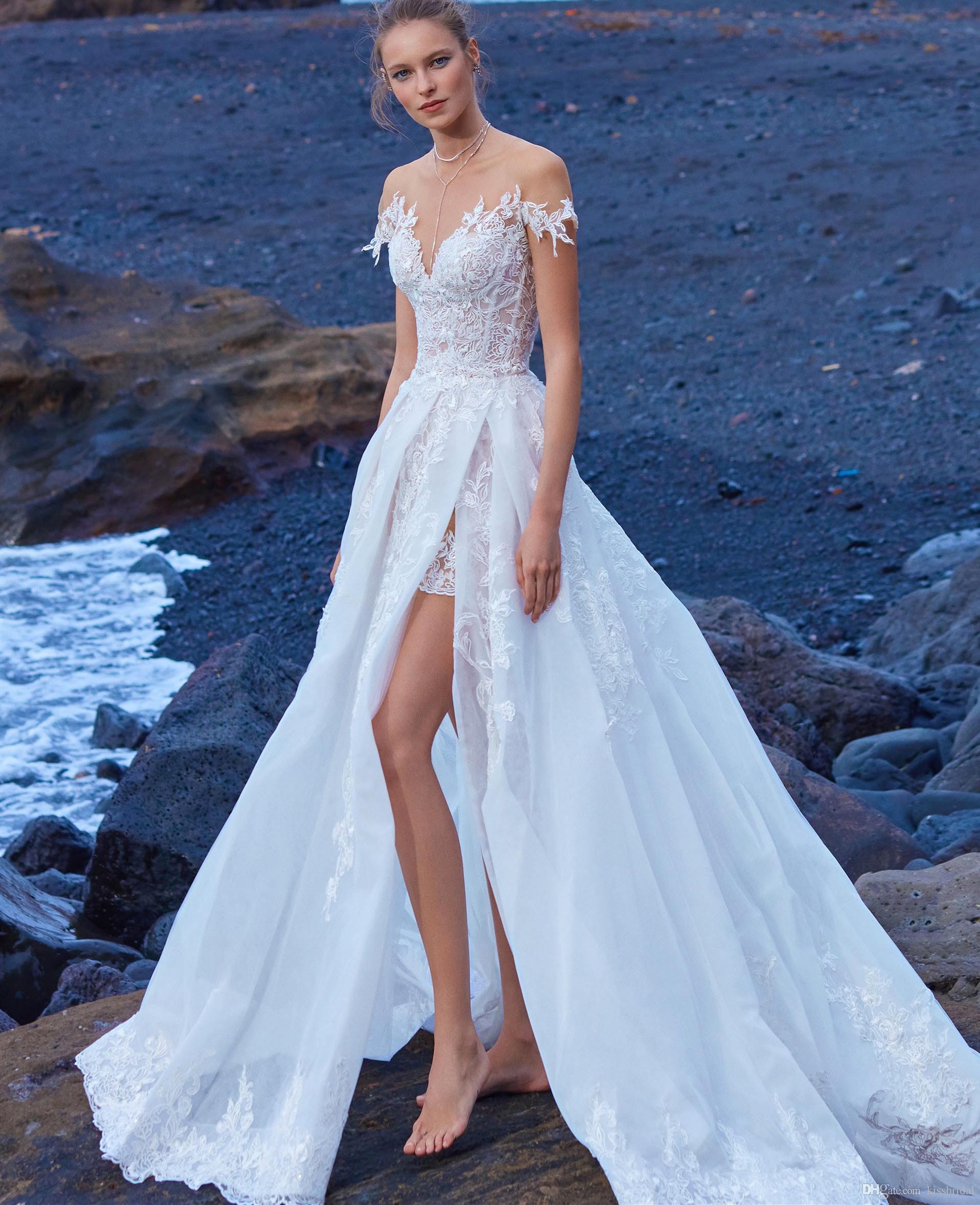 4fd4984b565 Discount Lace Wedding Dresses Short Sleeve 2019 Jewel Neckline Sheer Illusion  Bodice Beach Wedding Dress Bridal Gowns Vestido De Novia Wedding Dress ...