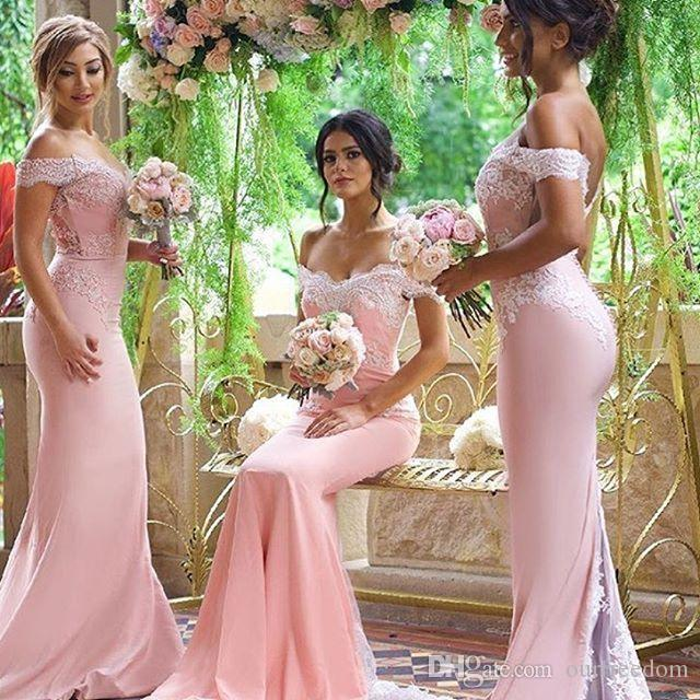 cbf3efeb3fe 2019 Baby Pink Bridesmaid Dresses Off The Shoulder Appliques Mermaid Low  Backless Satin Formal Maid Of Honore Wedding Guest Gowns Cheap Modest  Bridesmaids ...
