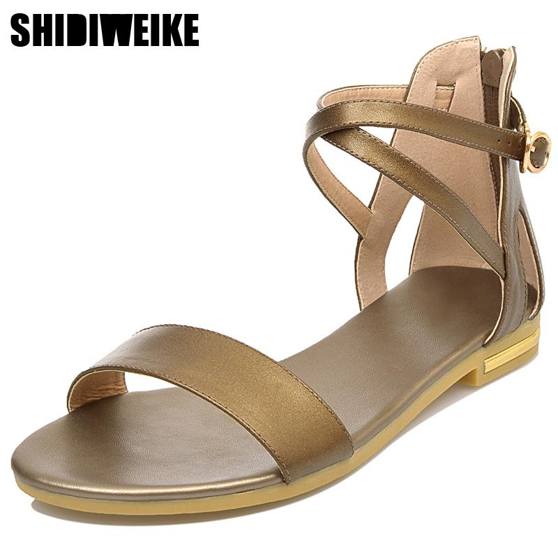 2019 Genuine Leather Women Sandals Hot Sale Fashion Summer Sweet Women Flats Heel Cross strap Sandals Ladies Shoes n899