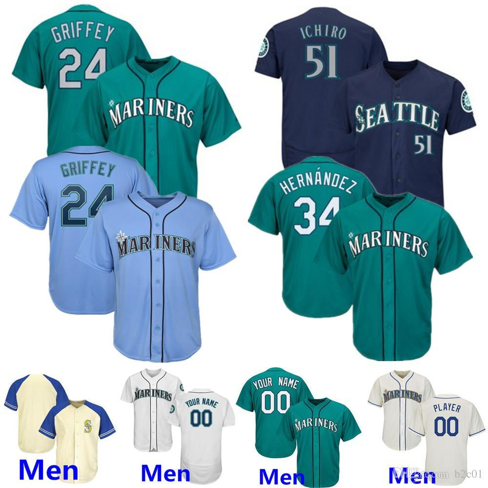 Mariners Jersey Seattle #11 Edgar Martinez 24 Ken Griffey Jr. 51 Ichiro Randy Johnson Suzuki 33 Justus Sheffield Vintage Green light blue