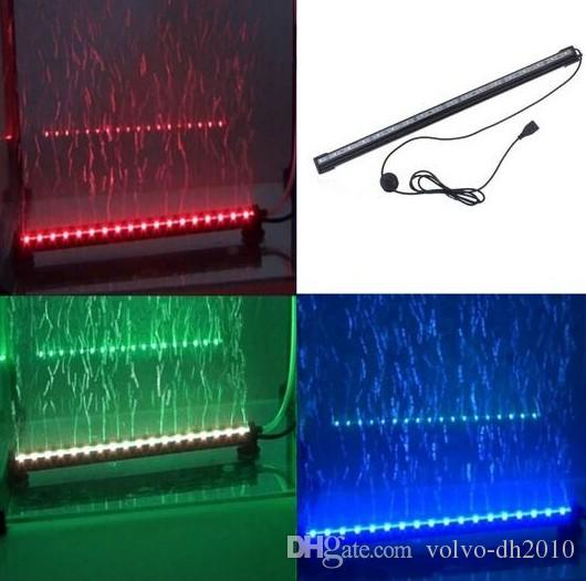 Remote RGB Air Bubble LED Acquario Luce Fish Tank Coral Lampada tubo IP68 6W 18LEDs 46cm LED Light Bar Sommergibile Down Underwater LED Light