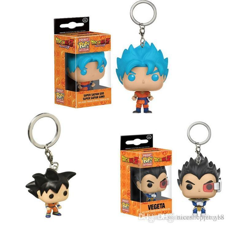 Funko Pocket POP Keychain - Super Saiyan Goku Blue Hair Dragon Ball Z Vinyl Figure Keyring with Box Toy Gift Good Quality Free Shipping