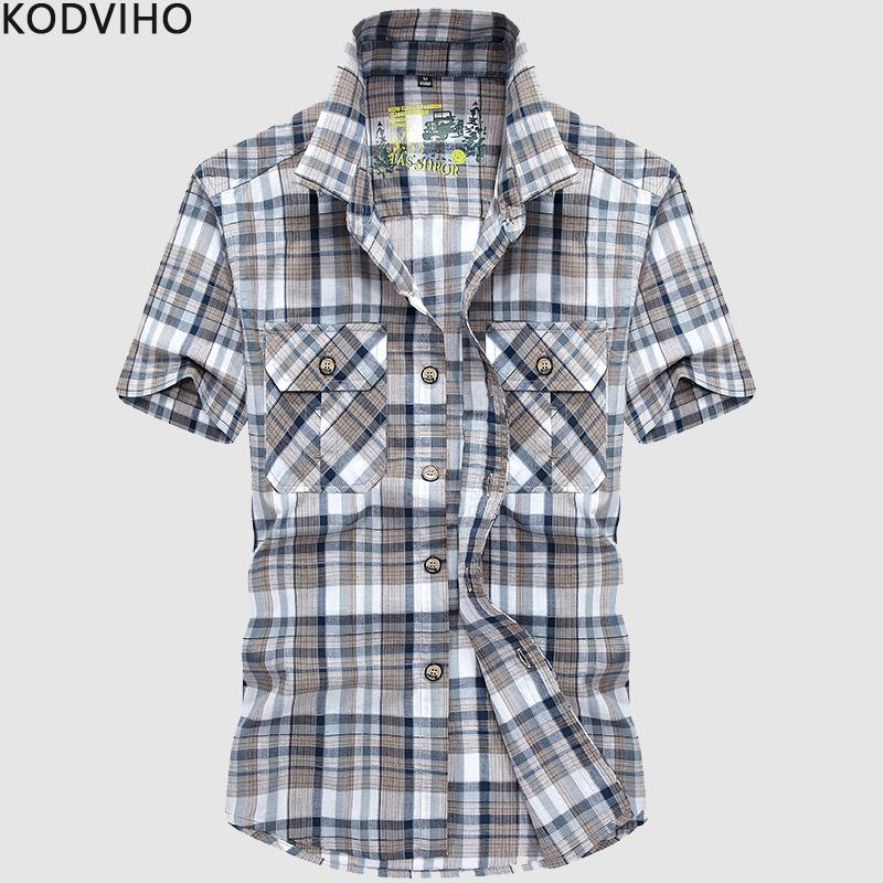 Shirts for Men Plaid Streetwear Casual Slim Fit Short Sleeve Cotton Shirt Mens Red Summer Blouse Man Camisas Chemises Homme 2019