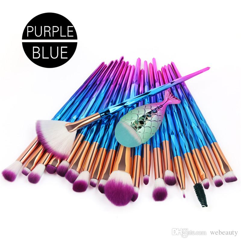 21pcs/set Makeup Brush Set Diamond Mermaid with Fish Tail Powder Foundation Eyeshadow Eyebrow Eyes Make up Brushes Kit Tools