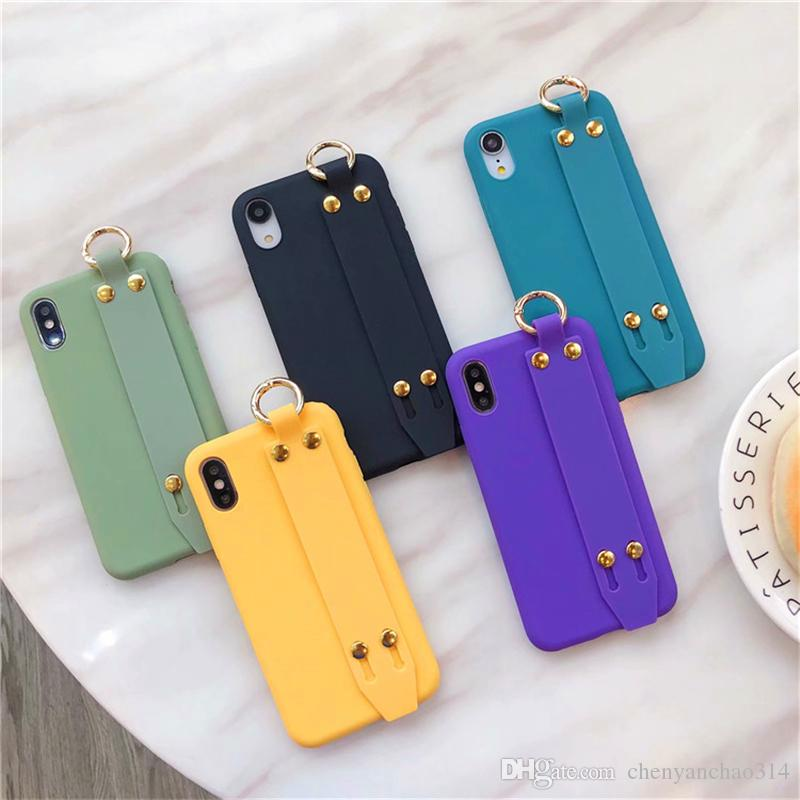 For iPhone 6 6S 7 8 Plus Simple Candy Color Wrist Strap Hand Band Holder Soft Silicone Case For iPhone X XR XS MAX Plain Cover